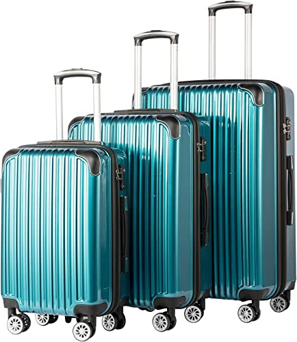 Coolife Luggage Expandable 3 Piece Sets PC ABS Spinner Suitcase 20 inch 24 inch 28 inch green