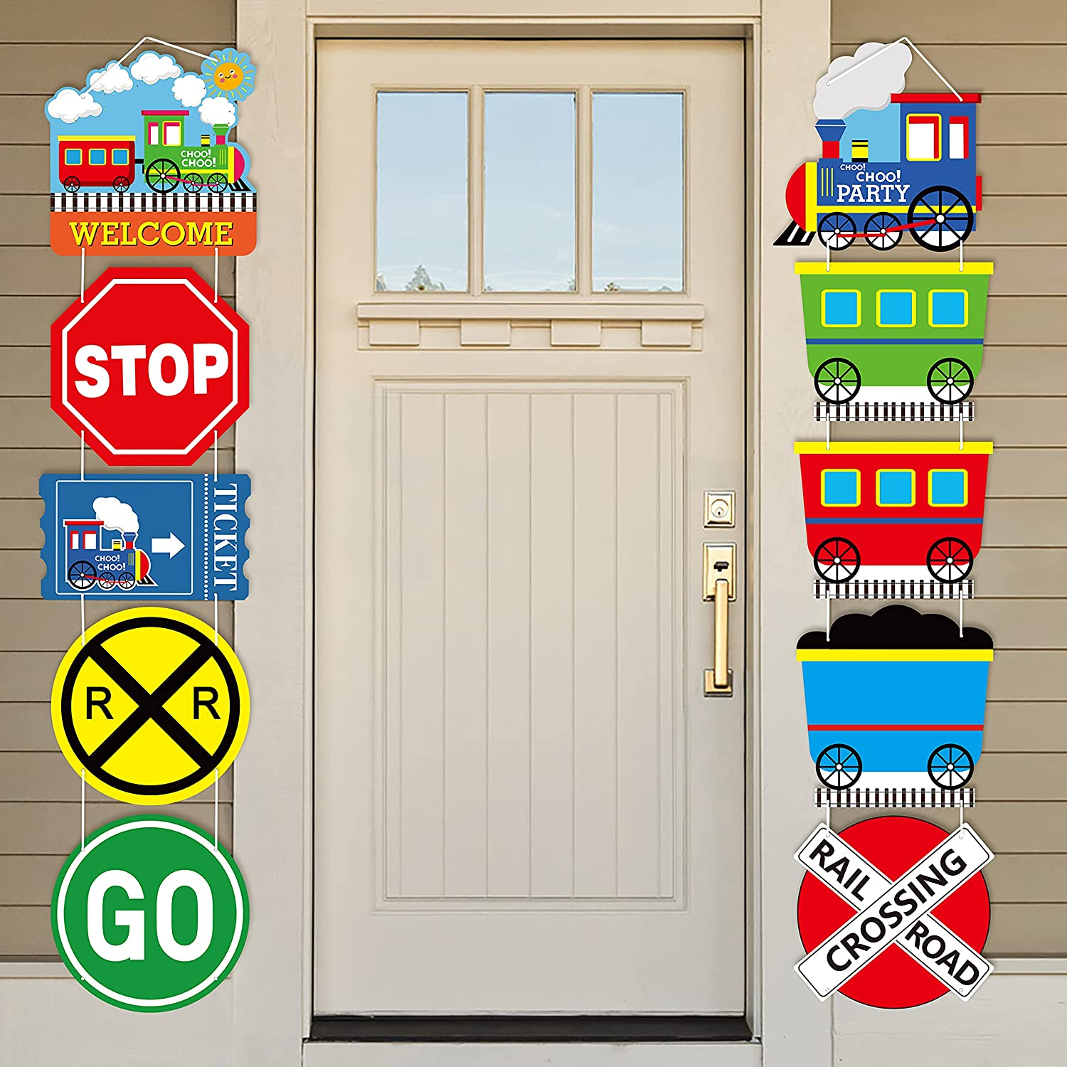 OSNIE 10Pcs Railroad Train Crossing Theme Choo Choo 2nd Birthday Party Decoration Supplies Railway Steam Train Traffic Sign Cardboard Cutouts Door Sign Banner Porch Sign Classroom Outdoor Indoor Wall Decor for Kids Boys