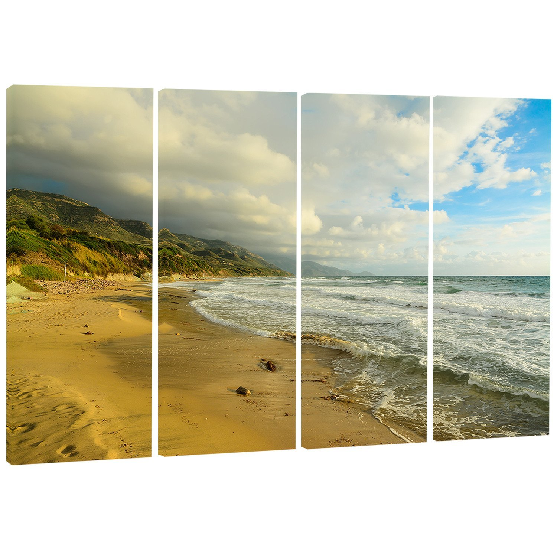 MT7670-48x28-4 Panels waves Meet S /& L /&Scape Photography Metal Wall Art