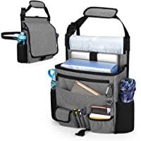 Luxja Car Front Seat Organizer with Cover and Laptop Sleeve, Car Seat Organizer with Back Adjustable Straps, Gray