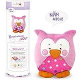 "kullaloo - Nähset / Stoffpaket zum Selber machen: Kuscheltier Eule Lou"" in rosa/pink mit Retro Dots inkl. Schnittmuster und Nähanleitung"