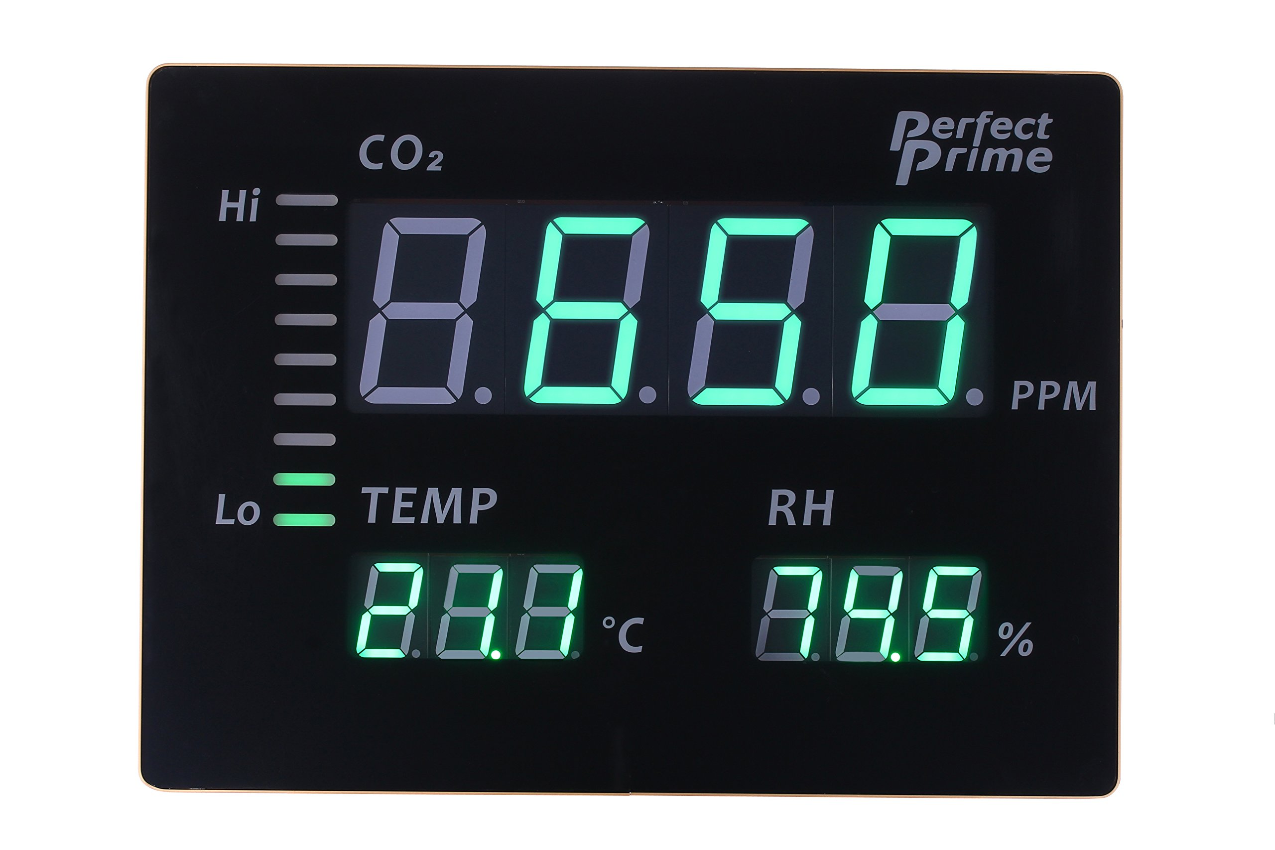 Perfect Prime CO2008 Carbon Dioxide CO2 Temperature Humidity Monitor Large LED Screen, Thermoemter/Hygrometer