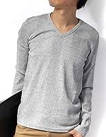 (リピード) REPIDO Tシャツ メンズ カットソー 長袖Tシャツ Vネック Vネックtシャツ ロングTシャツ ロンT テレコ ストライプ