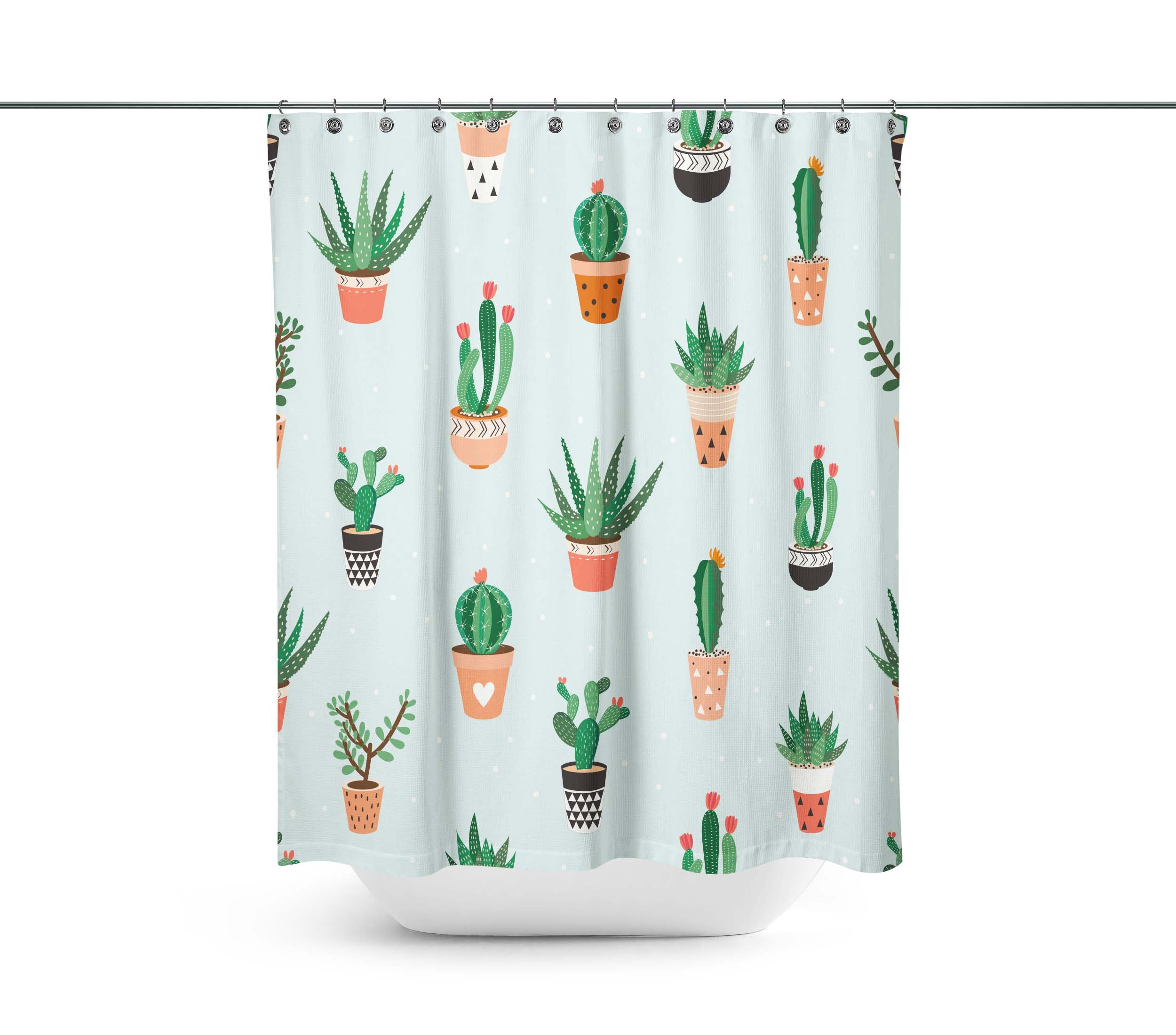 Seamless pattern with cacti and succulents Shower Curtains,Water-Repellent & Anti-bacterial Waterproof Mildew-Resistant Fabric with 12 Curtain Hooks