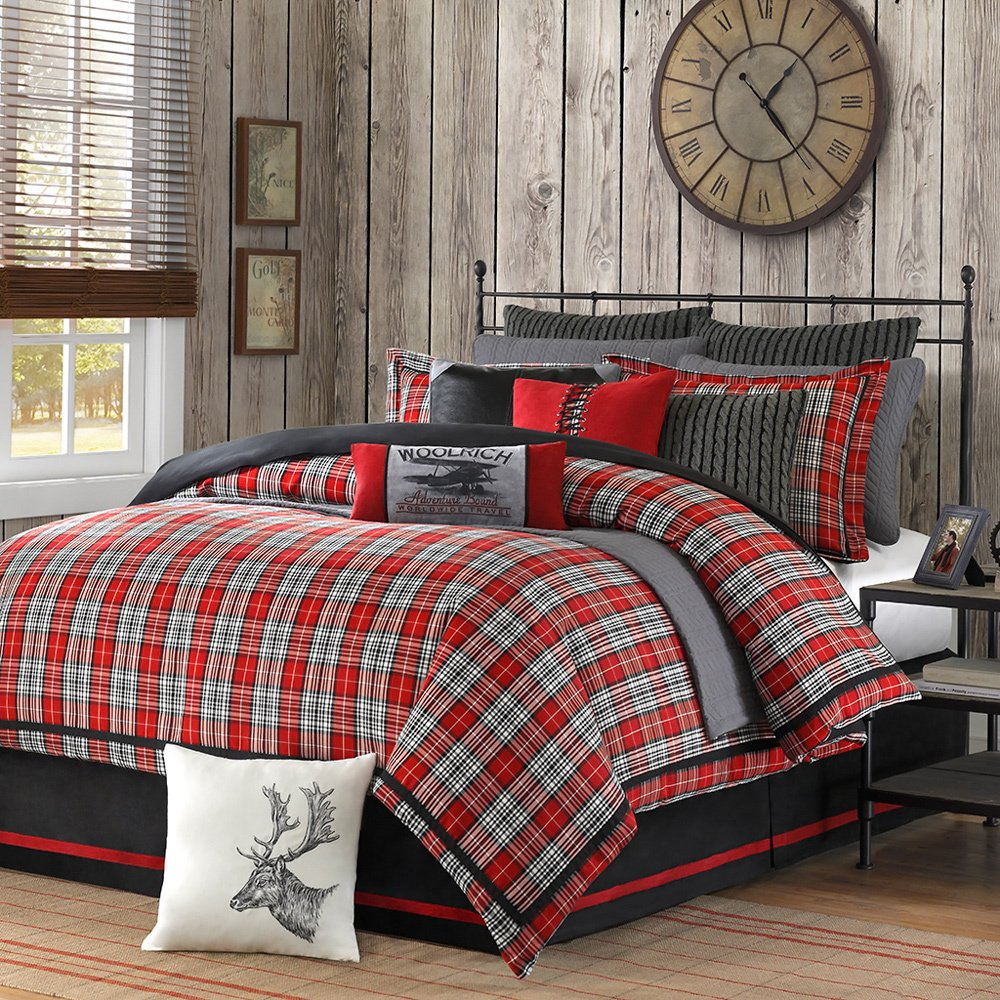 4 Piece Plaid Country Motif Comforter Set King Size, Warm Tartan Madras Scottish Style Pattern Checkered Boy Girl Unisex Bedding, Traditional Lodge Cabin Cottage Classic Guest Room, Red, Multicolored