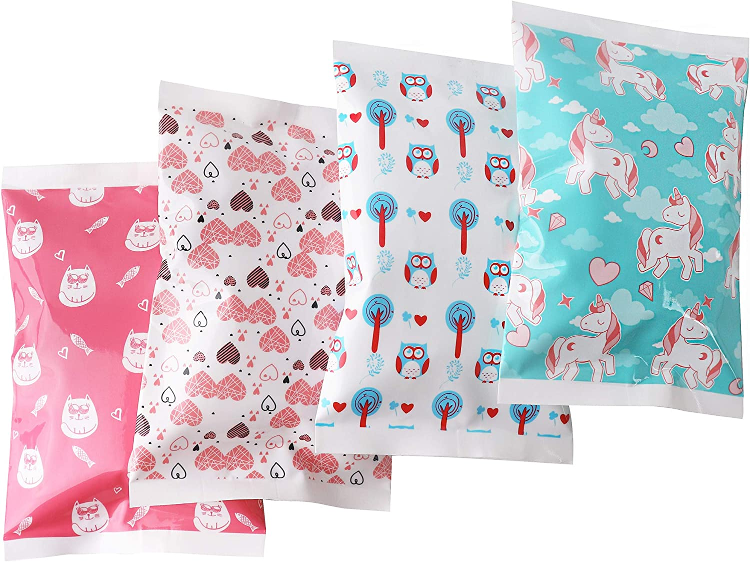 Ice Pack for Lunch Boxes - 4 Reusable Packs - Girls Prints - Keeps Food Cold – Cool Print Bag Designs - Great for Kids or Adults Lunchbox and Cooler