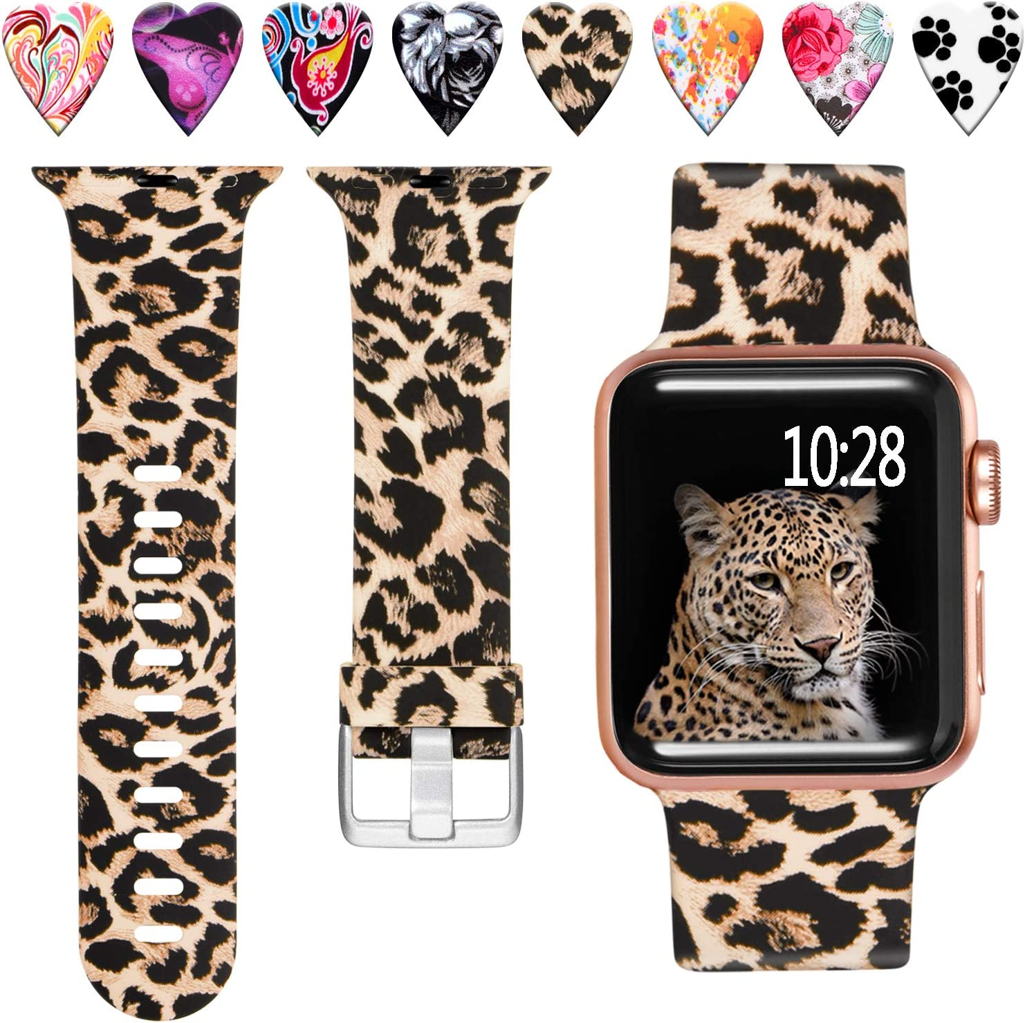 Laffav Compatible with Apple Watch Band 40mm 38mm iWatch SE & Series 6 & Series 5 4 3 2 1 for Women Men, Classic Leopard, S/M