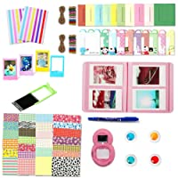 Leebotree Accessories Kit Compatible with Instax Mini 9 or Mini 8/8+/7s Include Album/Selfie Lens/Filters/Wall Hang Frames/Film Frames/Stickers/Pen(Flamingo Pink Without Bag)