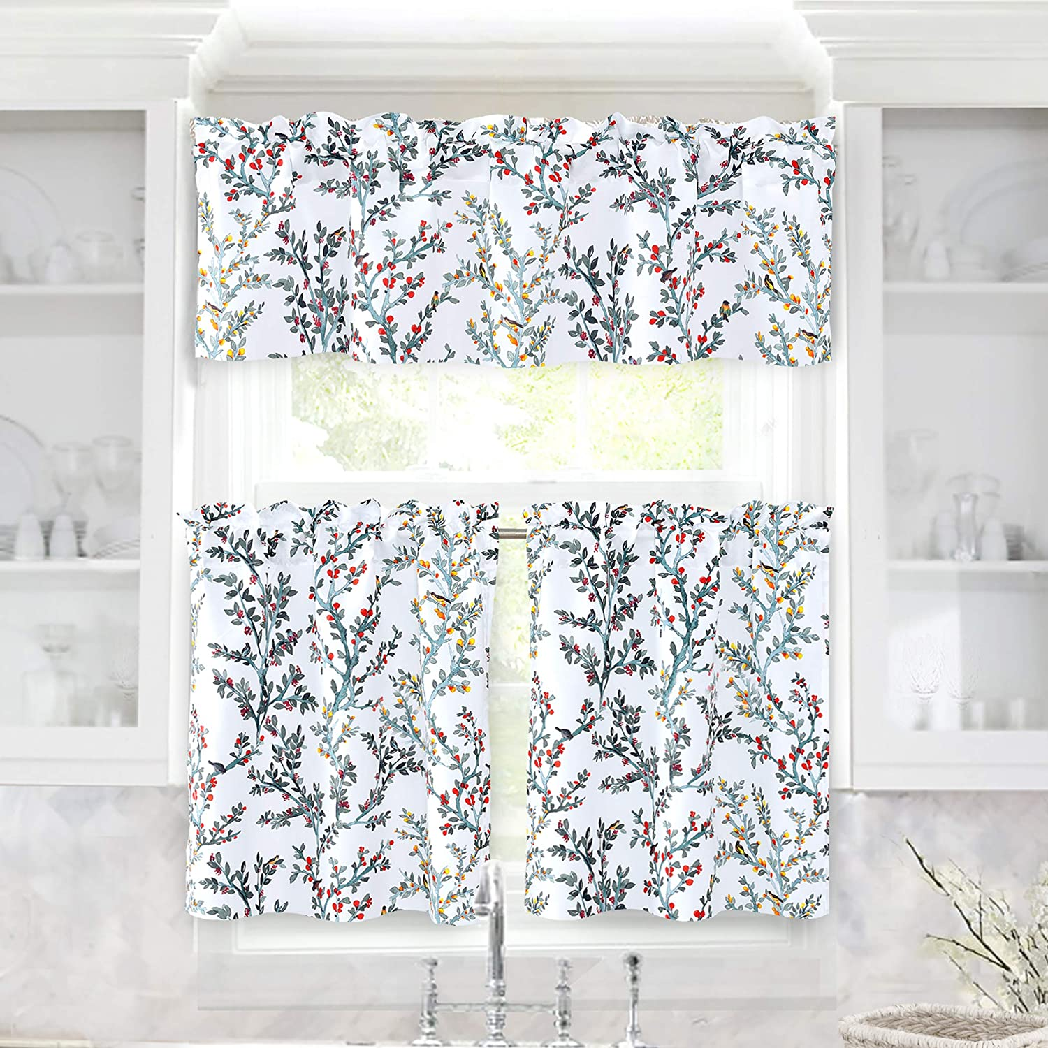 DriftAway Jasmine Watercolor Branch Botanical Semi Sheer 3 Pieces Rod Pocket Kitchen Window Curtain Set with 2 Tiers 26 Inch by 24 Inch Each and 1 Valance 52 Inch by 14 Inch Multi
