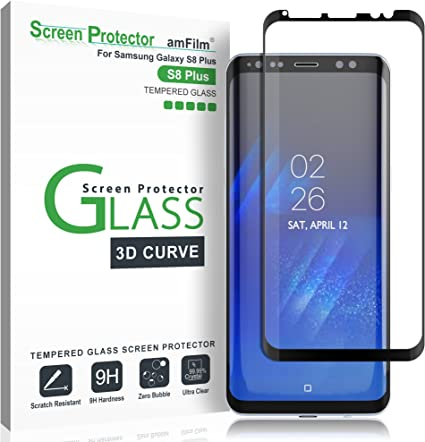 amFilm Protector Pantalla para Galaxy S8 Plus, Cobertura Total (3D ...