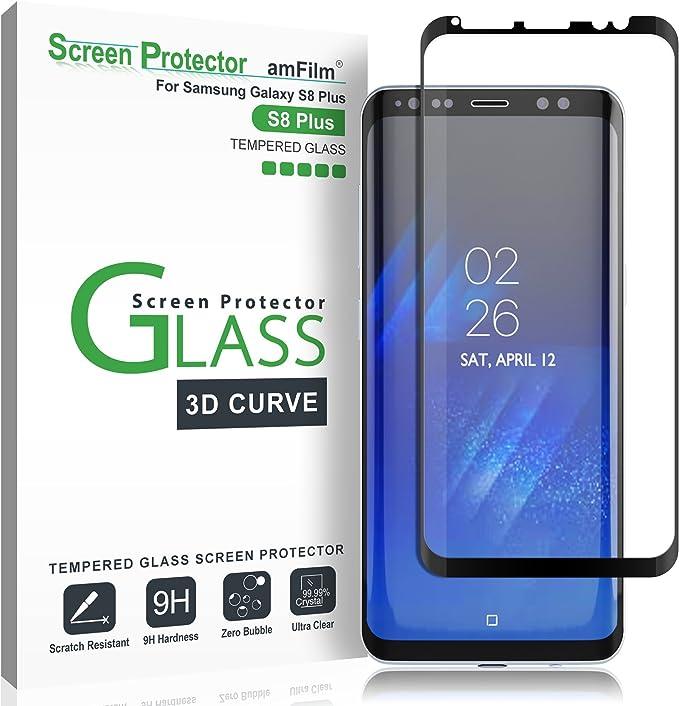 amFilm Protector Pantalla para Galaxy S8 Plus, Cobertura Total (3D Curvo) Cristal Vidrio Templado Protector de Pantalla para Samsung Galaxy S8+ (Negro): Amazon.es: Electrónica