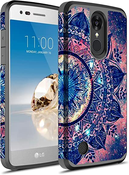 E-Began Case for LG Fortune 3 Shockproof Impact Durable Case -Sapphire LG Phoenix 5//Aristo 5+ Plus//Risio 4 Marble Design Full-Body Protective Black Bumper Cover with Built-in Screen Protector