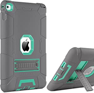 iPad Air 2 Case, BENTOBEN [Hybrid Shockproof Case] with Kickstand Rugged Triple-Layer Shock Resistant Drop Proof Case Cover for iPad Air 2 with Retina Display/iPad 6, Gray/Mint Green