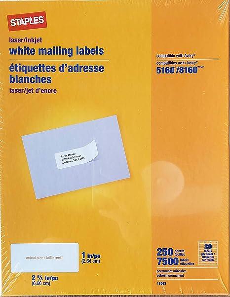Staples White Inkjet/Laser Address Labels 1