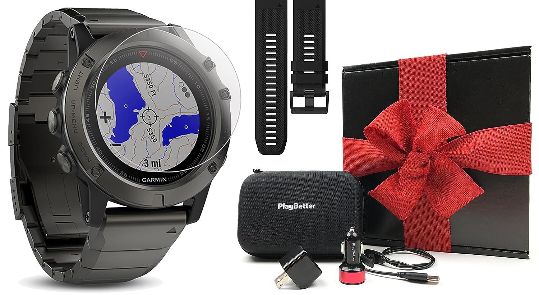 Garmin Fenix 5x Sapphire Slate Gray With Metal Band 5 Grey Gift Box Bundle Extra Black Screen Protector Playbetter Usb Car Wall Adapter