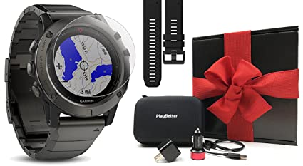 Garmin Fenix 5X Sapphire (Slate Gray with Metal Band) Gift Box | Bundle: Extra Band (Black), Screen Protector, PlayBetter USB Car/Wall Adapter, ...