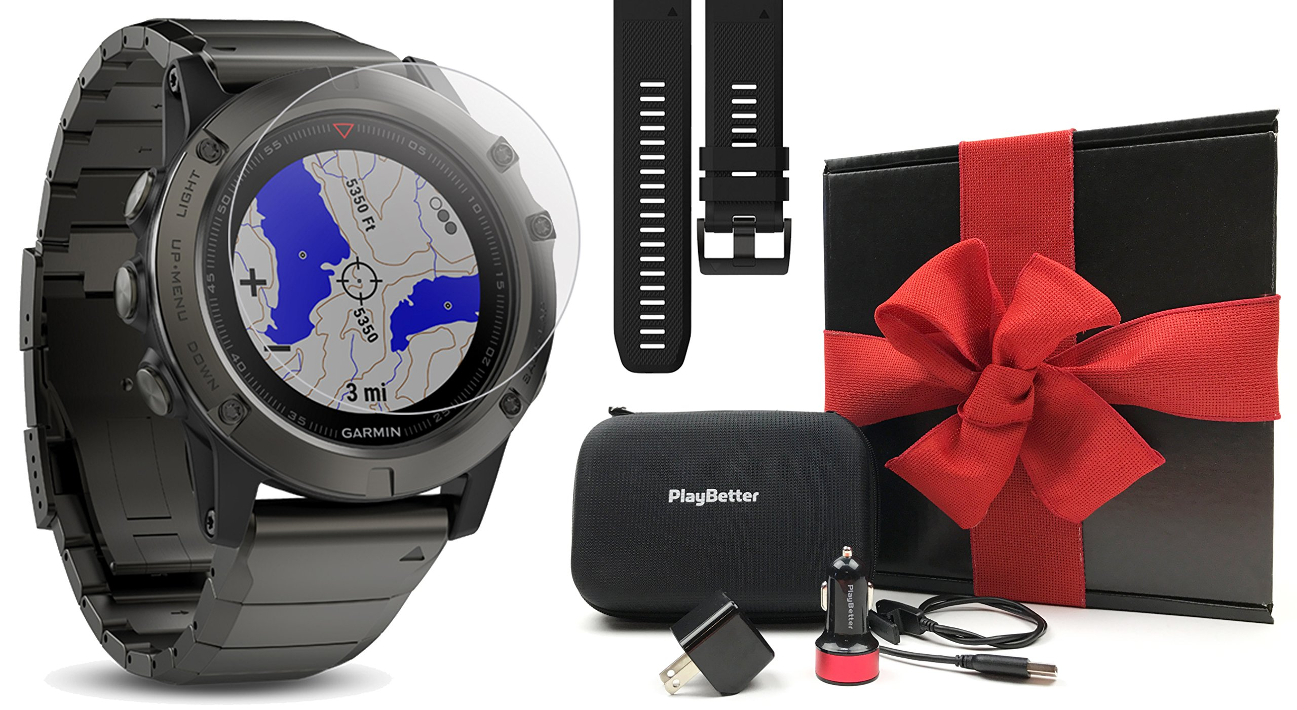 Garmin fenix 5X Sapphire (Slate Gray with Metal Band) GIFT BOX | Bundle: Extra Band (Black), Screen Protector, PlayBetter USB Car/Wall Adapter, Protective Case | Multi-Sport GPS Watch, Wrist-HR, Maps