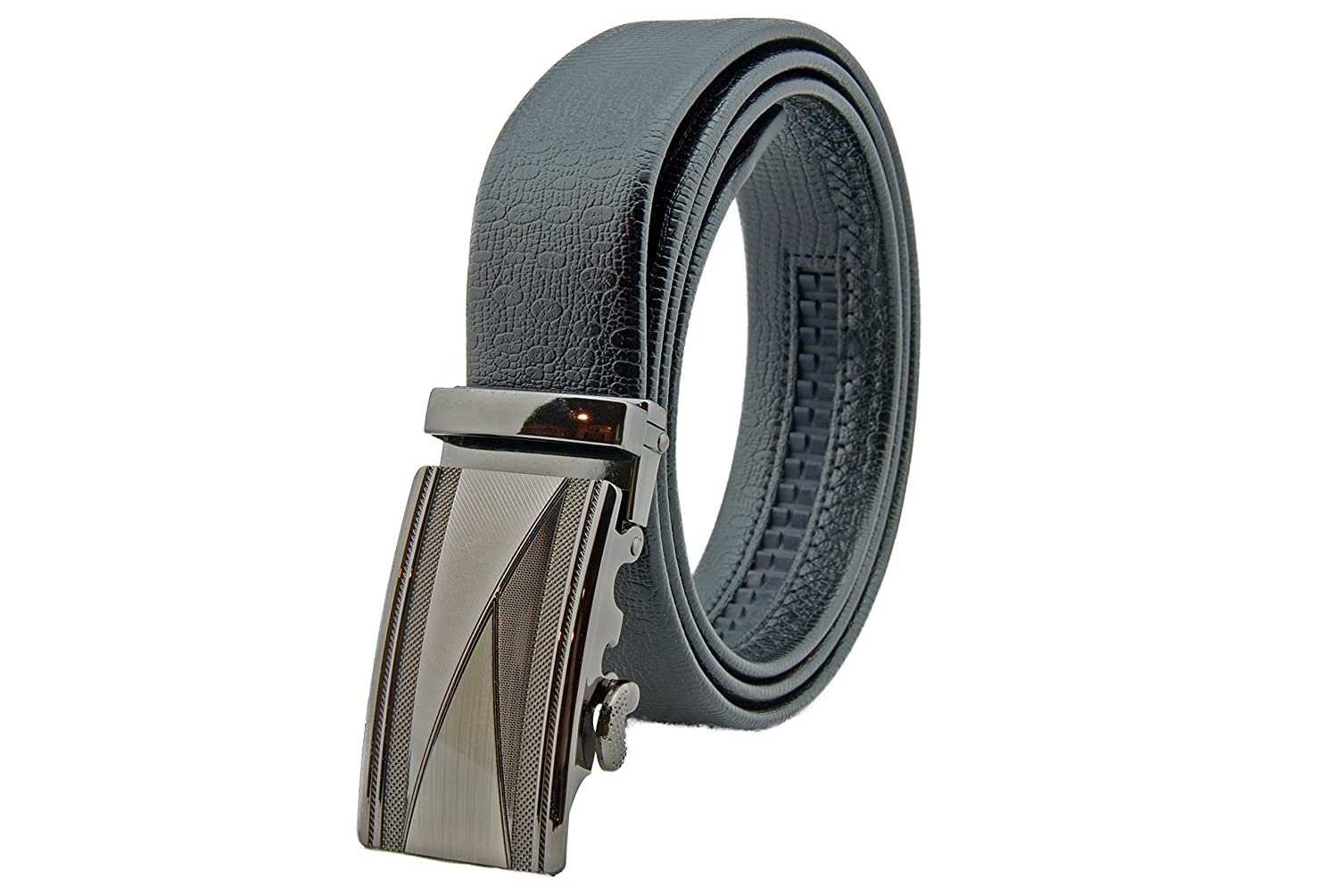 Automatic Buckle Celini Men/'s Leather Ratchet Belt Adjustable Belt Without Holes