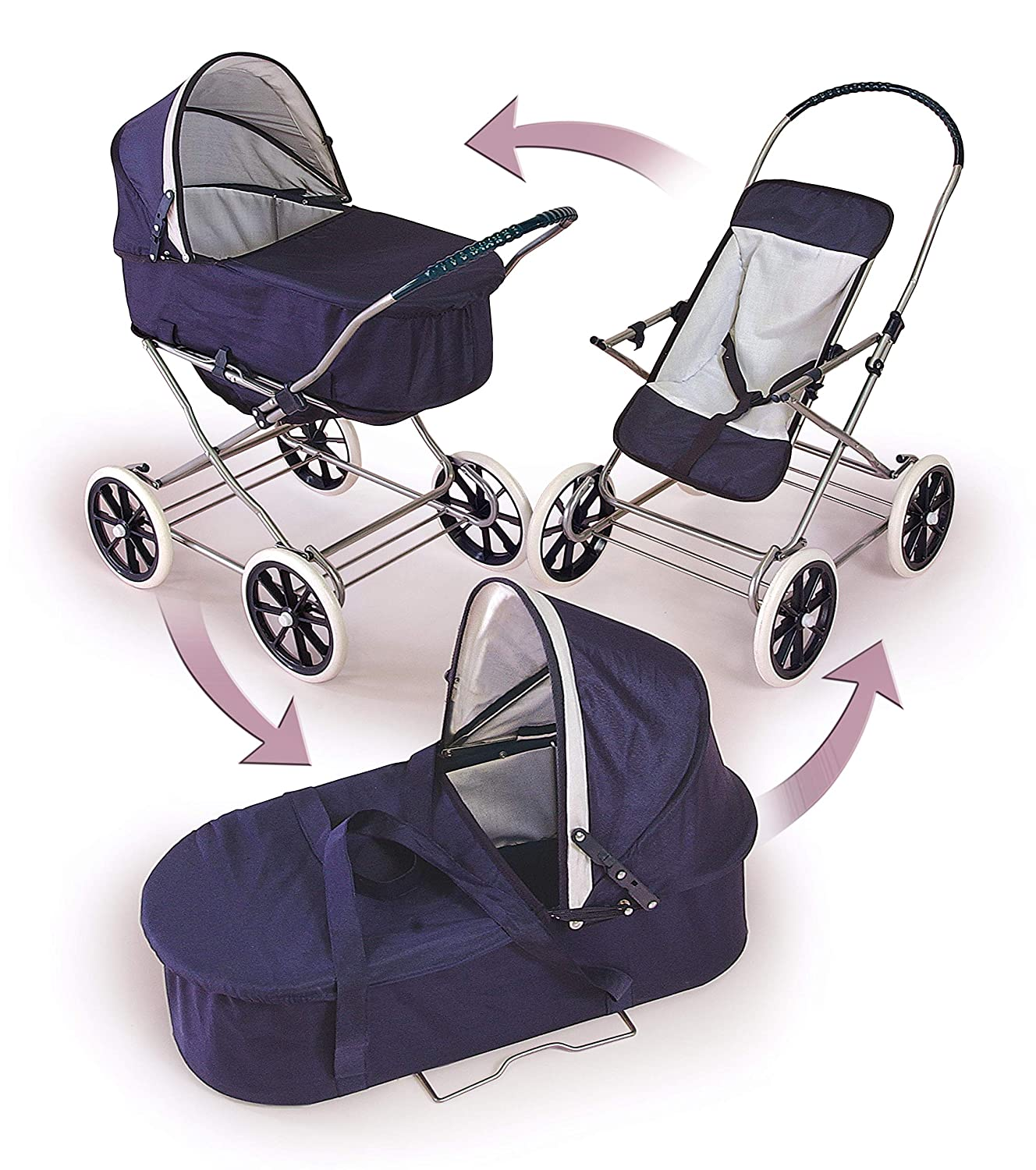 Badger Basket Pink Rosebud 3-in-1 Doll Pram and Stroller Carrier fits American Girl dolls