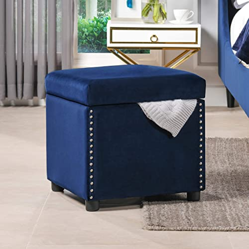 Jennifer Taylor Home Hailey Collection Colonial Style Nailhead Trim Velvet Accent Square Storage Ottoman with Wooden Legs, Navy Blue