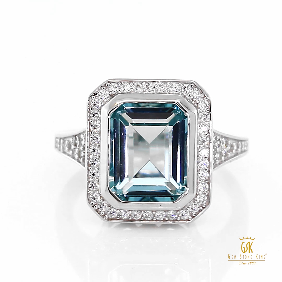 Gem Stone King 925 Sterling Silver Simulated Aquamarine Ring For Women (5.00 Cttw Emerald Cut Available 5,6,7,8,9)