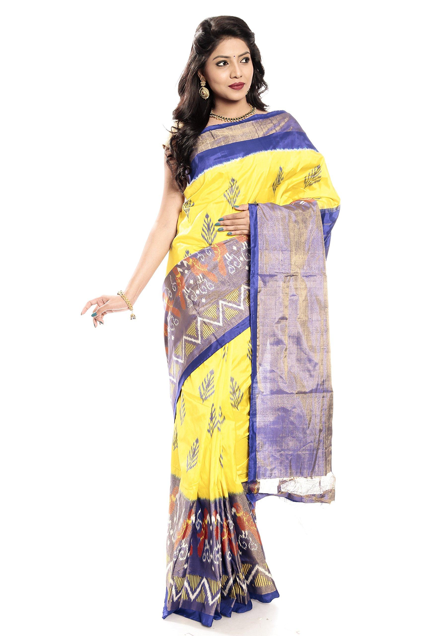 Mandakini — Indian Women's Pochampally - Handloom - Ikat Pure Silk Saree (Yellow ) (MK362)