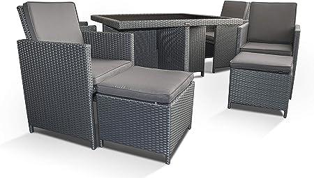 Ragnarök-Möbeldesign - Muebles de jardín (polirratán, marca alemana, producción propia, 8 años de garantía, resistencia a los rayos UV, mesa y 4 sillas, 4 taburetes, 12 cojines), color gris y plateado: Amazon.es: Jardín
