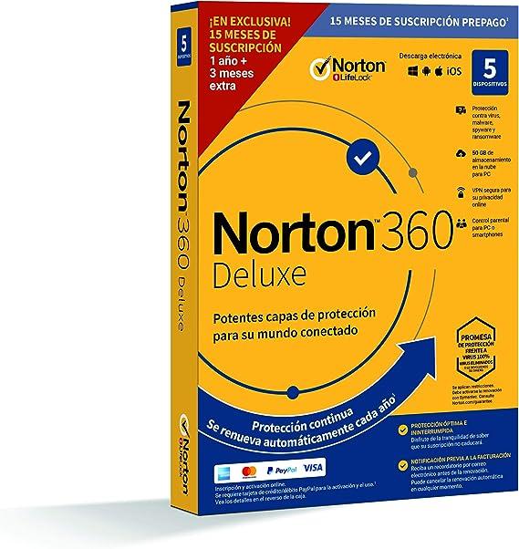 Norton 360 Deluxe 2020 - Antivirus software para 5 Dispositivos y ...