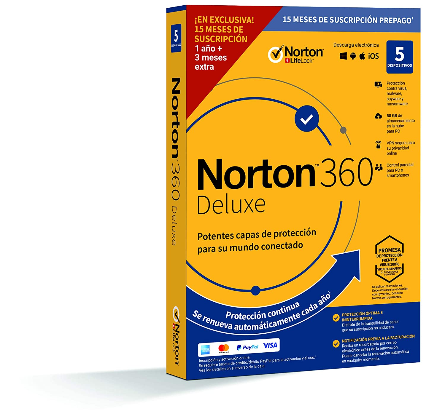 Norton 360 Deluxe 2020 - Antivirus software para 5 Dispositivos y ...