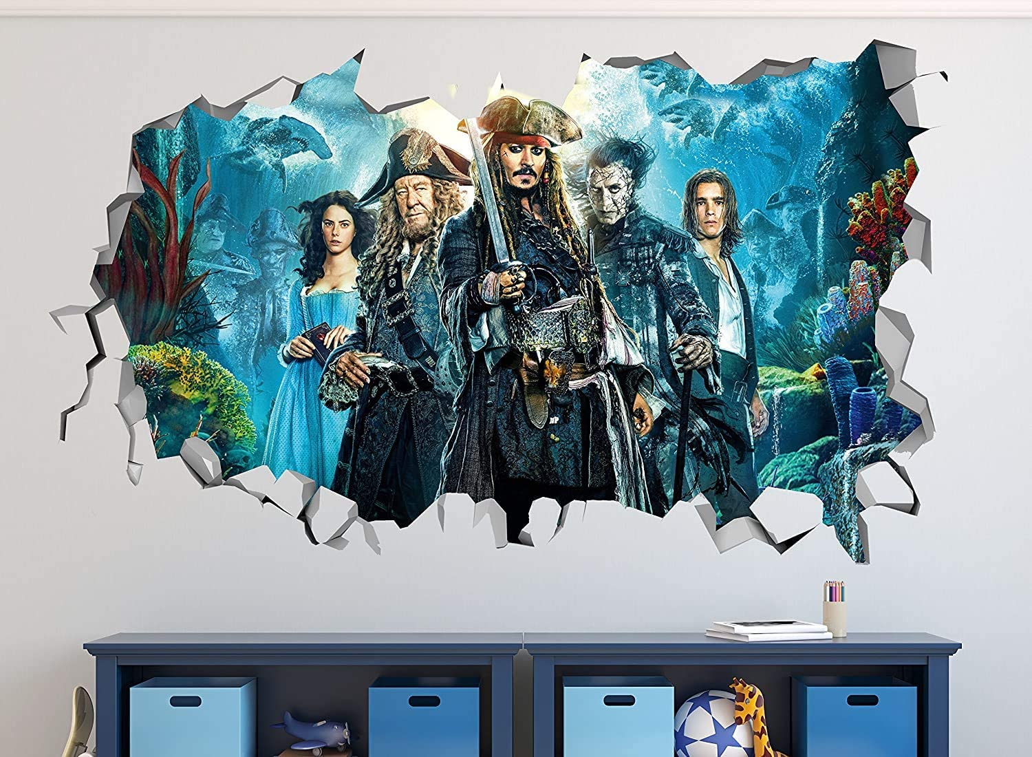 "Pirates of the Caribbean 5 Smashed 3D Wall Decal Mural Art Kids Boy Smash Home Decor Removable Sticker Vinyl WW30 (GIANT (50""W x 30""H))"