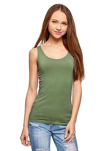 oodji Collection Mujer Camiseta de Tirantes Básica sin Etiqueta (Pack de 2)