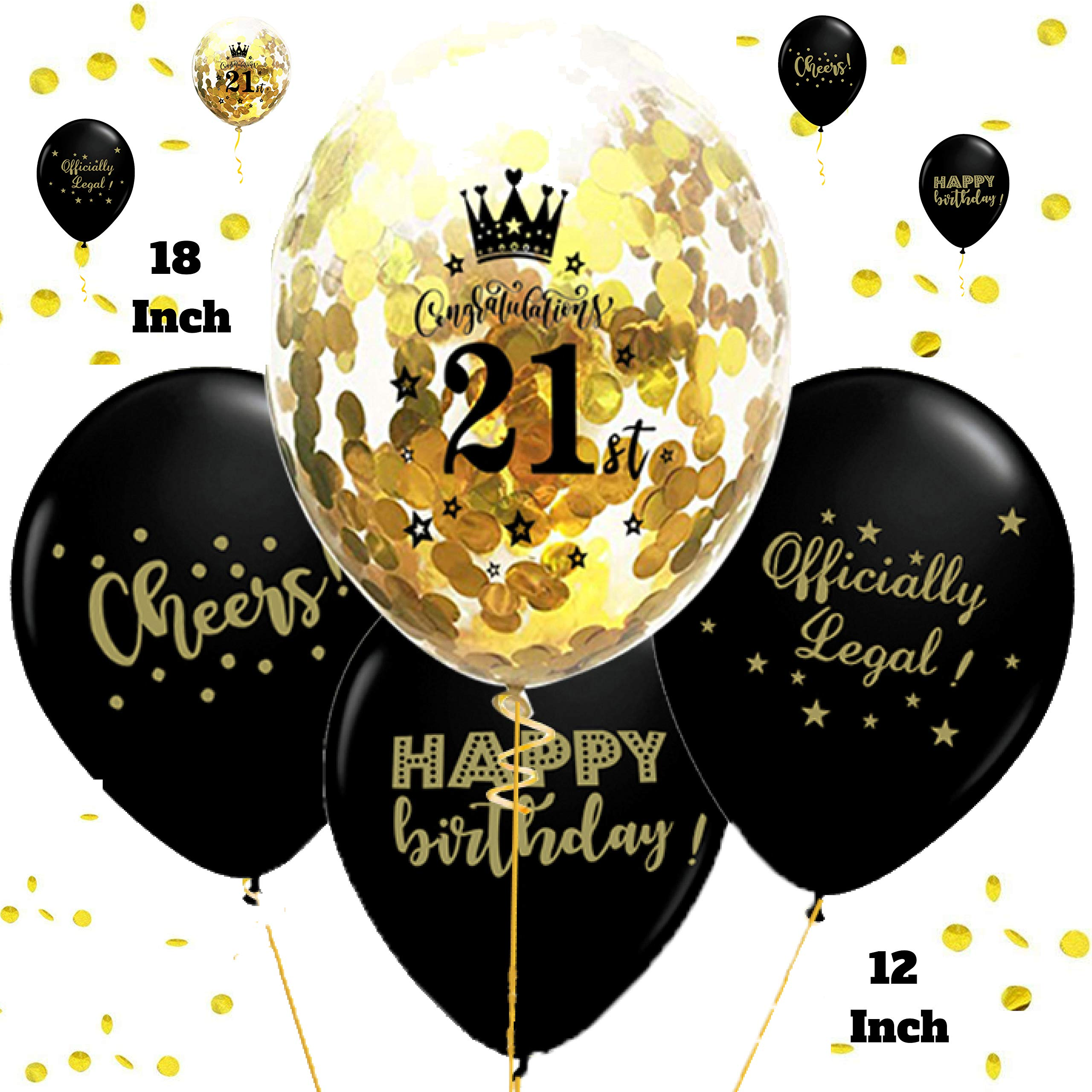 Otyland Decor 21st Birthday Decorations Set 18 Inch Gold Confetti Balloons 12 Black Number 21 Balloon Happy Bday Kit Queen Crown Tiara Party