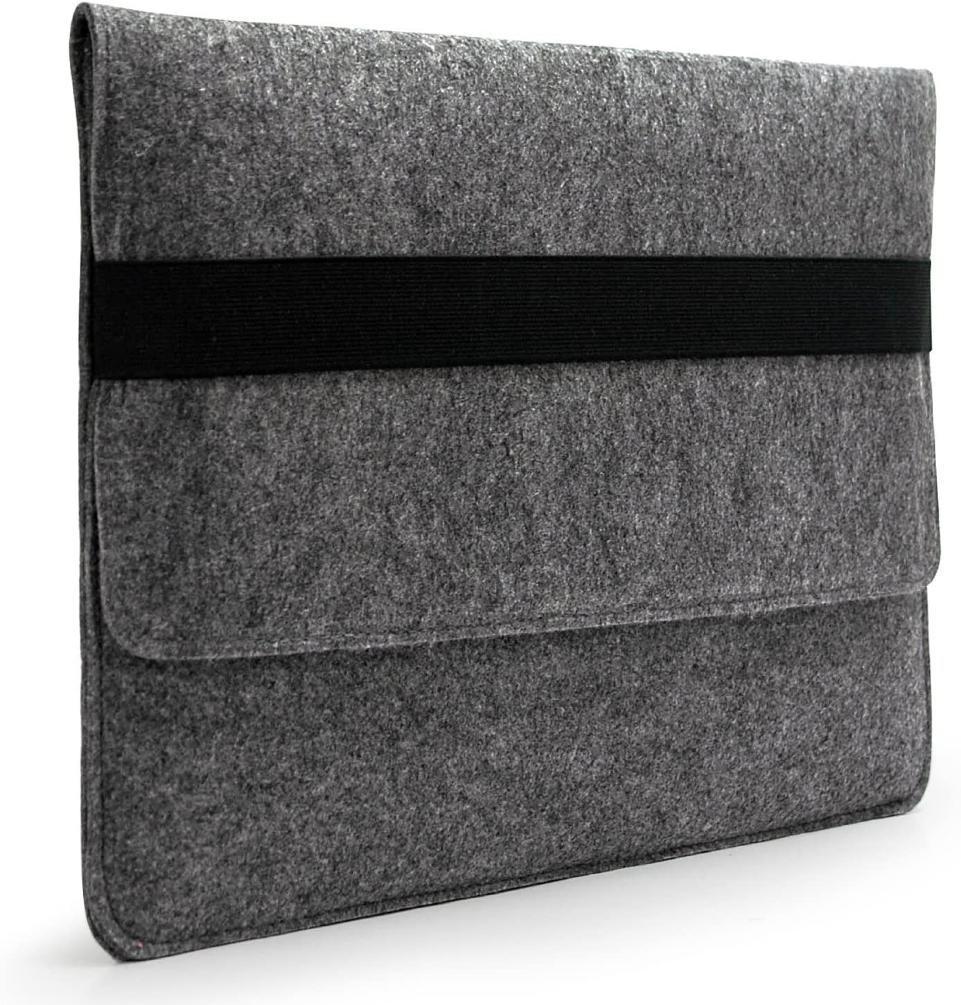"LAVIEVERT Handmade Gray Felt Case Bag Sleeve Protector with Black Elastic Band for Apple 15"" MacBook Pro / 15"" MacBook Pro Retina and Most Popular 15-15.6 Inch Laptops/Notebooks/Ultrabooks"