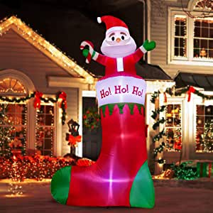 Amazon.com: SEASONJOY 10Ft Christmas Inflatable Santa on ... on Backyard Decorations Amazon id=55571