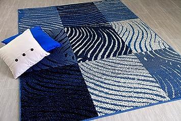 Trendline Tapis Moderne Zèbre Carreaux Gris Bleu 5 Tailles