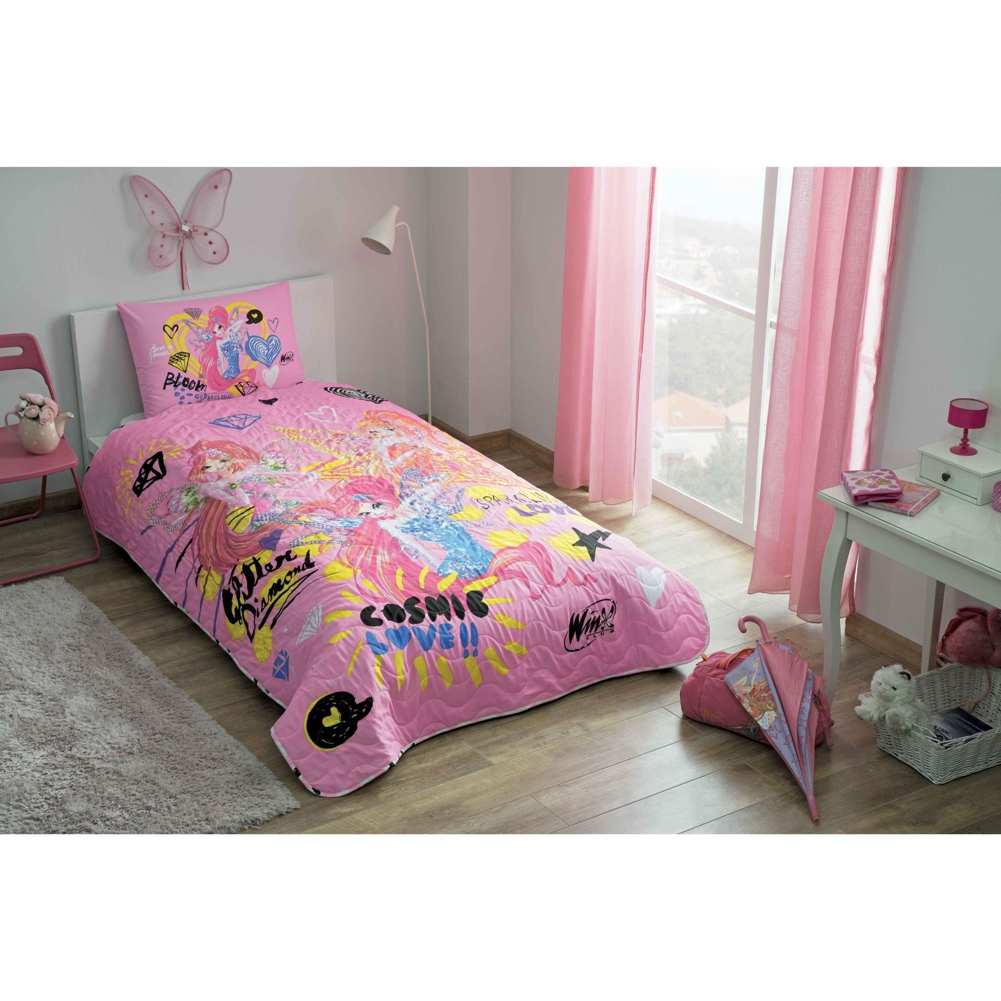 LaModaHome 2 Pcs Luxury Soft Colored Bedroom Bedding 50% Cotton Licensed Single Bedspread Set/Cosmic Love Winx Club Cartoon Girl Child/Single Bed Size
