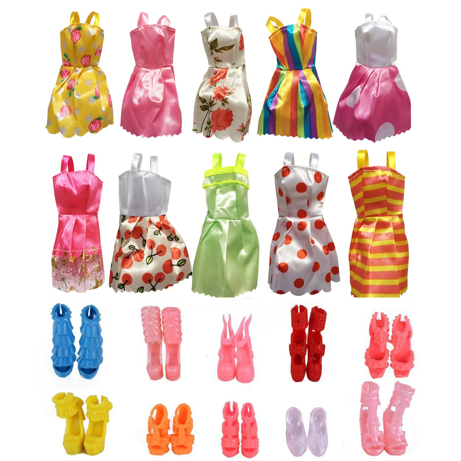 10 Pack Girl Barbie Clothes Doll Dresses Wedding Party Gown Outfits with 10 Pairs Shoes Birthday Gift by SAKUYV