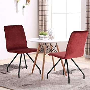50% DISCOUNT OFF GreenForest Velvet Dining Chairs Wood Transfer Metal Legs Dining  Room Chairs Set