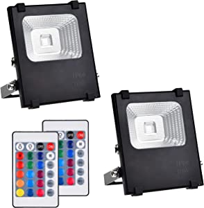 Telaso 2 Pack 10W RGB LED Flood Light with Remote Control, IP66 Waterproof Dimmable 16 Colors Changing 4 Lighting Modes, Wall Light US 3-Plug for Garage Garden Lawn Backyard Pond