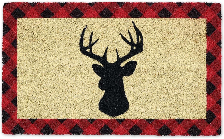 DII Indoor/Outdoor Natural Coir Season Doormat, 18x30, Holiday Stag