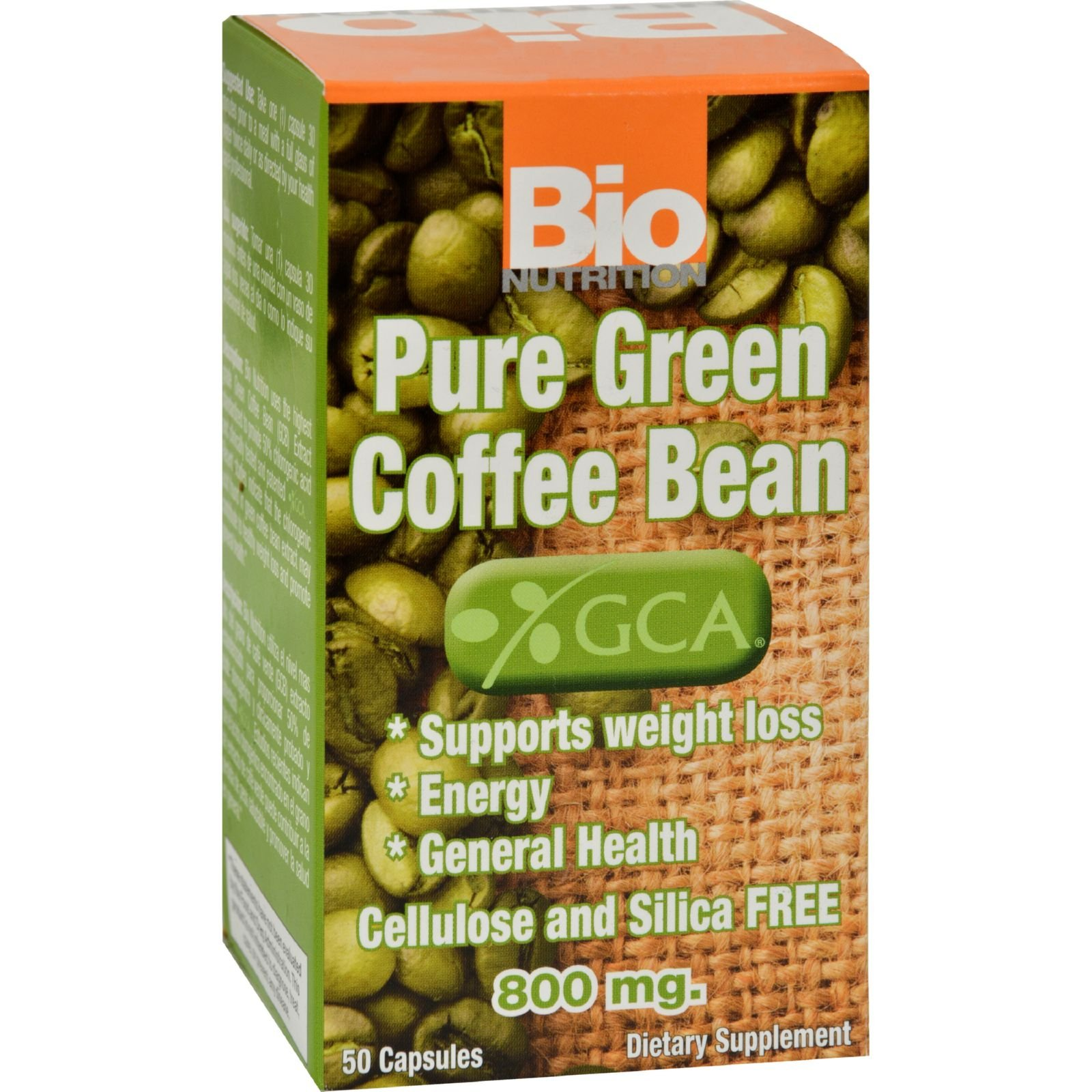 Bio Nutrition Pure Green Coffee Bean - Supports Weight Loss - Cellulose and Silica Free - 50 Gelcaps (Pack of 2)