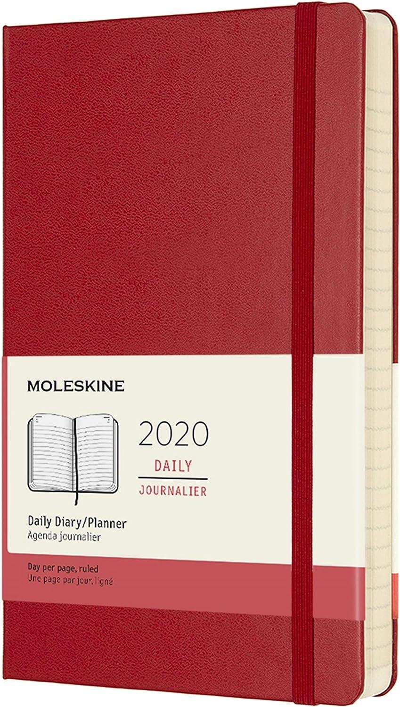 Moleskine - Agenda Diaria de 12 Meses 2020, Tapa Dura y Goma Elástica, Tamaño Grande 13 x 21 cm, 400 Páginas, Rojo Escarlata (AGENDA 12 MOIS)