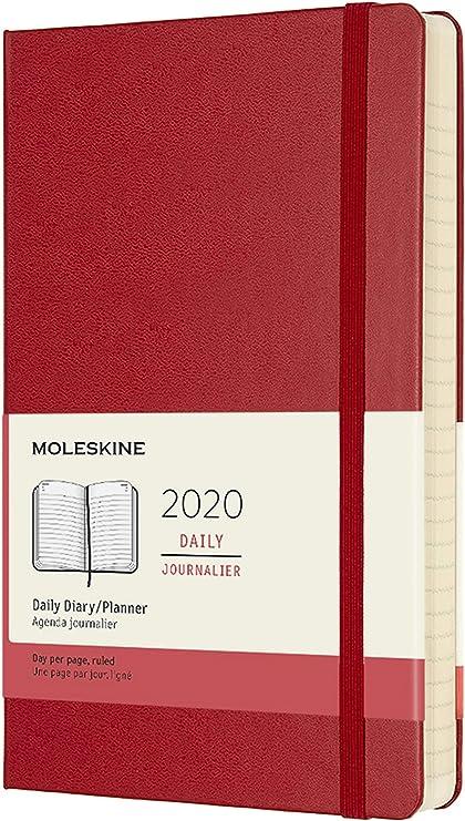 Oferta amazon: Moleskine - Agenda Diaria de 12 Meses 2020, Tapa Dura y Goma Elástica, Tamaño Grande 13 x 21 cm, 400 Páginas, Rojo Escarlata (AGENDA 12 MOIS)