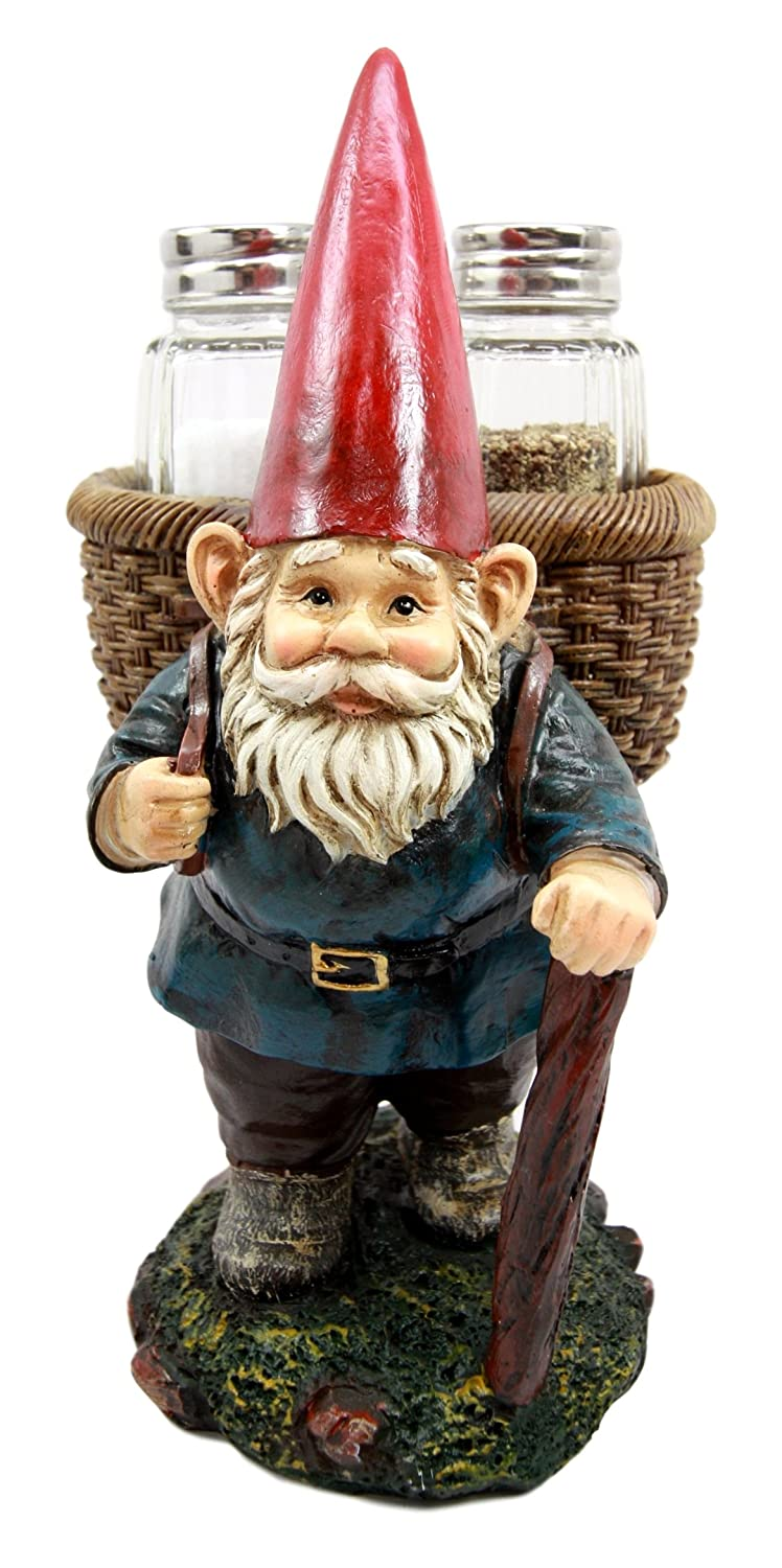 Backpacking Gnome Salt and Pepper Shaker Set Figurine with Faux Wicker Basket Backpack