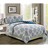 Kaylin Grape/Navy Reversible Comforter Set Twin Extra Long