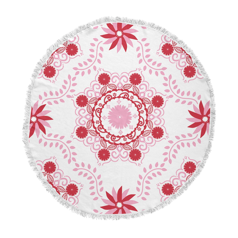 Kess InHouse Anneline Sophia Lets Dance Red Pink Floral Round Beach Towel Blanket