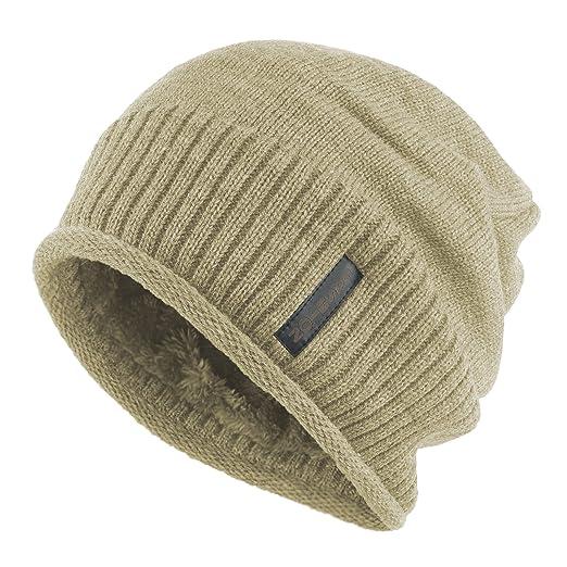 d1217e33b568f Janey Rubbins Winter Slouchy Baggy Solid Knit Beanie Hat Fur Lined Crochet Skull  Ski Cap (Beige