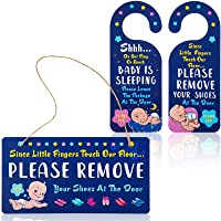 Please Remove Your Shoes at The Door Hanger Shoes Off Sign Decorative Wooden Sign with 2 Pieces Double-Sided PVC Door Knob Signfor Wall Art Home Decoration