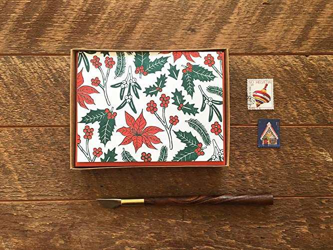 amazon com holiday flora boxed set of 8 letterpress holiday cards