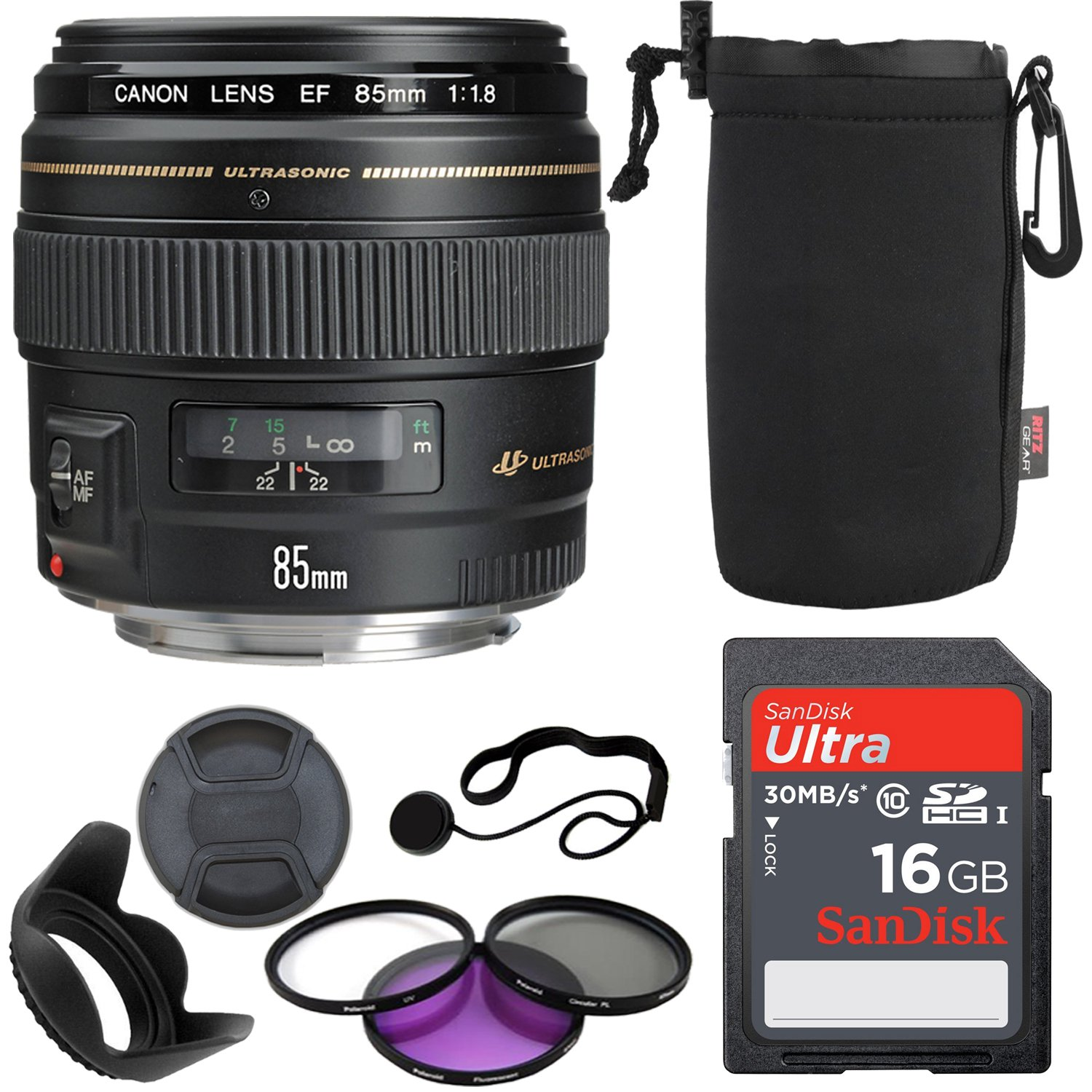 Canon EF 85mm f/1.8 USM Medium Telephoto Lens for Canon SLR Cameras 2519A003 - Fixed, 16GB Memory Card, Polaroid 58mm Filter Kit, Ritz Gear Protective Pouch, Lens Cap and Accessory Bundle
